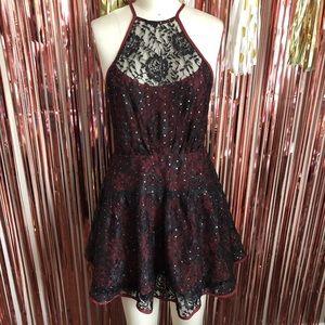 Free People Maroon Gold Polka Dot Black Lace Dress